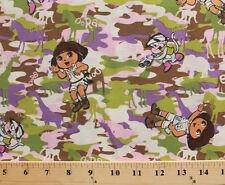 Dora the Explorer Boots Safari Camouflage Camo Cotton Fabric Print BTY D762.11