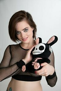 "LARGE 12"" Furrybones BLACK Bunny Plush Toy Super Soft Squishy CREEPY & CUTE! 🤗"