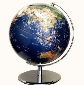 STUNNING Clear Blue Satelite View Educational World Globe 42cm x 30cm