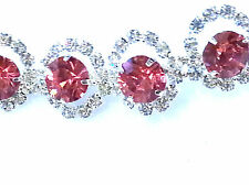LARGE ROUND LIGHT PINK RHINESTONES SMALL CLEAR OUTLINE HAT BAND HEADBAND HAIR
