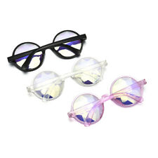 Unisex Rave Kaleidoscope Rainbow Prism Diffraction Crystal Lens Round Glasses FT