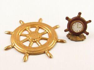 Miniature Captains Wheel & Ship's Wheel Mantle Clock For Dollhouse E356