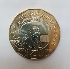 """MEXICAN COIN $20 PESOS """"EMILIANO ZAPATA SALAZAR"""" MEXICO"""