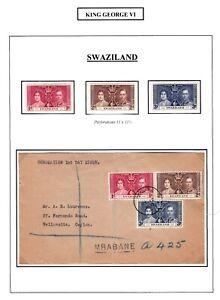 1937 CORONATION KING GEORGE VI PRE-DECIMAL STAMPS SET FDC MUH/MLH SWAZILAND #13