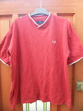 Mens Fred Perry Red Cotton V Neck Polo Shirt Size Large Loose Fit