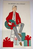 Vintage 1950's Rust Craft Velvet Christmas Nephew Greeting Card Used