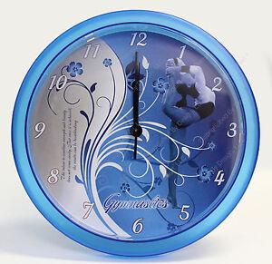 Gymnastics Decorative Wall Clock - Custom Design in Blue & White