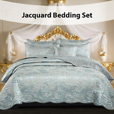 3 Piece Satin Jacquard Bedspread Quilted Bed Throw Double King Size Bedding Set