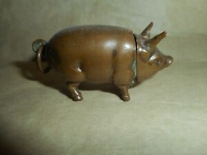 Figural Antique Copper Pig Vesta Match Safe