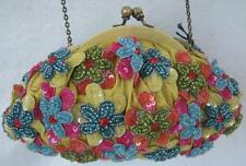 """Vintage Santi Beaded Flower Purse Gold Shoulder Chain Lined Yellow Blue Sm 7x4"""""""
