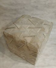 Handmade Zig Zag cowhide leather ottoman pouf stool 18 inch square from India