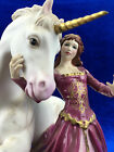 The Lady & the Unicorn by David Cornell Franklin Mint Porcelain Statue 24k Gold