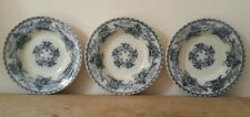 """3 Antique Transfer Wear Ironstone Dishes Plates 19th Century JAPONICA Blue 10.5"""""""