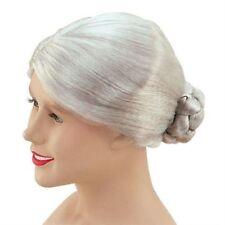 Gran Granny Nanna Old Lady Grey Bun Wig Fancy Dress Womens NEW P5355