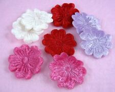 "100 Mixed 1 1/8"" Embossed Velvet Flower Appliques - Cardmaking/Trim"