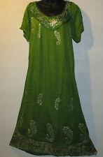 Dress Fit XL 1X 2X PLUS Green Silver Batik Crochet Square Neck Short Sleeve 499