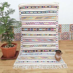 Kilim Tribal Moroccan Rug, Hanbal Rug, Berber Flatwoven Carpet, Moroccan Decor