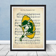 Vintage Green Bay Packers Retro Logo Fight Song Music Football Art Decor Gift