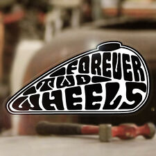 Forever Two Wheels Sticker Aufkleber Autocollante Bobber Chopper weiss 90mm