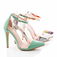 Olga1E Pointy Toe Lucite Clear Ankle Strap Stiletto High Heel Women Dress Pump