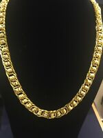 Handmade Dubai Men's Chain Necklace In Solid 916 Stamped 22Carat Yellow Gold