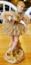 "Antique Vintage Volkstedt Dresden Lace Germany Painted 4"" Ballerina Figurine"