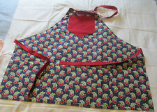 Bib Apron Handmade Double Pockets Reversible Cherries & Red FREE SHIPPING