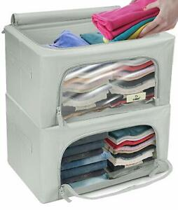 Storage Bag Boxes Foldable Stackable Organizer Bins Set for Clothes Shelf Closet
