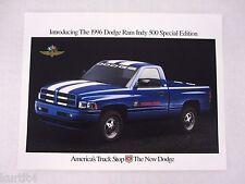 1996 Dodge Ram Indy 500 Truck Color Sheet Sales Brochure