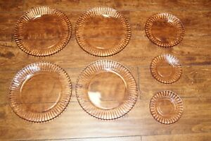 VINTAGE FORTECRISA DEPRESSION PINK SWIRL PLATES LOT OF 7 MEXICO