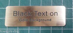 Engraved Name Badge 70mm*25mm Black on Gold background - Black Pin Fastener