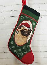 "PUG Christmas Stocking Tapestry Velvet PICKEL Santa Hat - 26"" long diag"