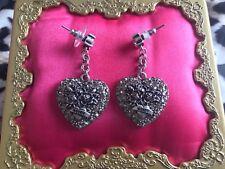 Betsey Johnson Black Label Silver Ed. Crystal Tattoo Heart XOX 4 EVER Earrings