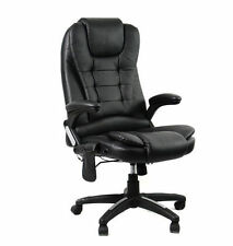 1 8 point massage executive office chair heated recliner black pu leather