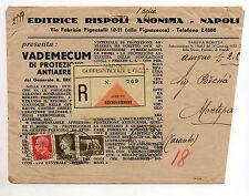 STORIA POSTALE 1939 REGNO IMPERIALE 3 VALORI C.90 SU RACC. NAPOLI 3/10 Z/1741