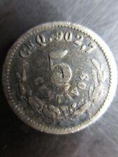 World SILVER Mexico Second Republic 1908 CnQ Silver 5 Centavos KM 400 Circulated