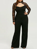 Plus Size Wide Leg Women Rompers Jumpsuit Pants Tops Lace Sleeve Cut Out Casual