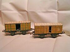 TRAINS HORNBY-ANNEES 1930 - O 1/43,5 - 2 WAGONS COUVERTS LAIT EST 1S & FRIGO PLM