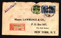 Denmark 1923 Registered Cover to NY / Back Seals - Z15540