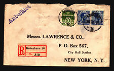 Denmark 1923 Registered Cover to NY / Back Seals - Z15540
