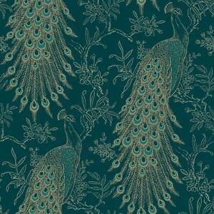 Pandore Pfau Tapete Exotisch Metallisch Grün Blaugrün/Gold RASCH 405804