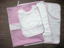 Set asilo 4 pezzi rosa da ricamare tovaglietta bavaglino asciugamano sacca