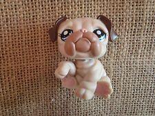 Littlest Pet Shop #1765 Bulldog Two Toned Cream Brown Tan Blue Eyes Eyelashes