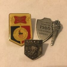 Vtg Lot Pins Miller Beer Us Olympics Training Center + Cycling + 1980 Torch