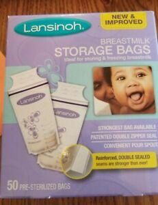 NEW Lansinoh Breastmilk Storage Bags Pump Directly into Bags Pack BPA Free 50CT
