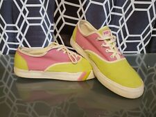 Womens Pro Keds Canvas Pink & Lime Green Size 11 Free Shipping!!