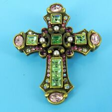 JAY STRONGWATER Swarovski crystals RELIGIOUS Cross BROOCH / PIN