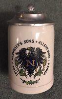 Louis F Neuweiler's Sons Lidded Mug beer Stein Allentown Pa Neuweiler Crest