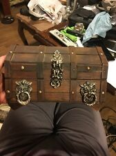 Vintage Wooden Treasure Chest Jewelry Box