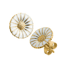 Georg Jensen Daisy Flower 18k Gold Plated with White Enamel Earrings - 3539207